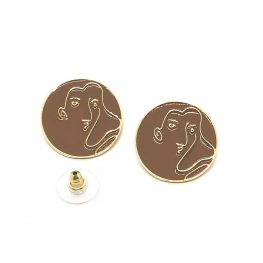 brown-abstract-art-woman-earrings
