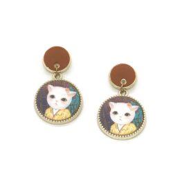 cat-in-a-kimono-vintage-style-earrings-brown