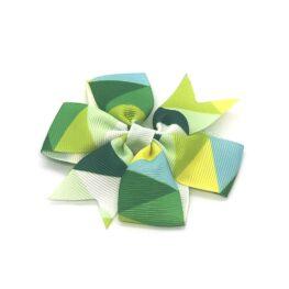 colours-of-joy-pinwheel-childrens-kids-hair-bows-clip-green-1a