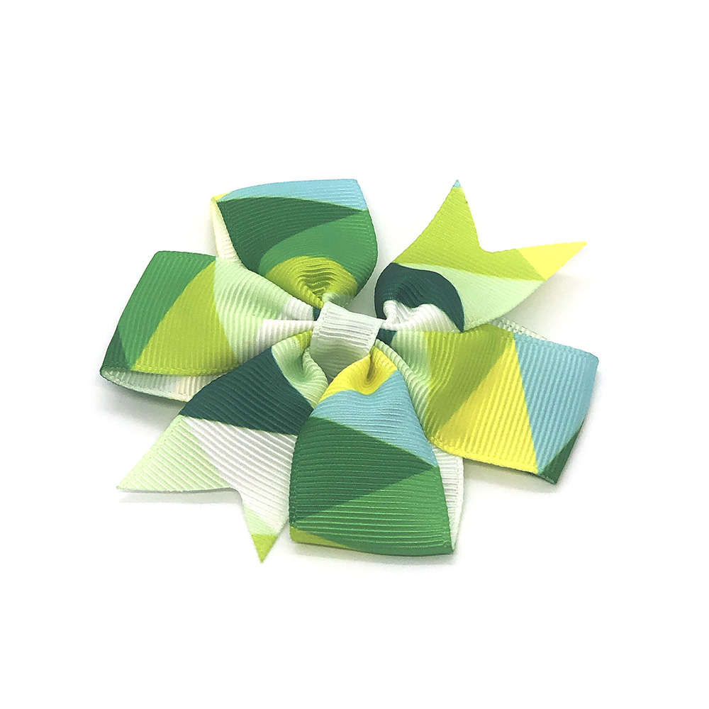 colours-of-joy-pinwheel-childrens-kids-hair-bows-clip-green-1a