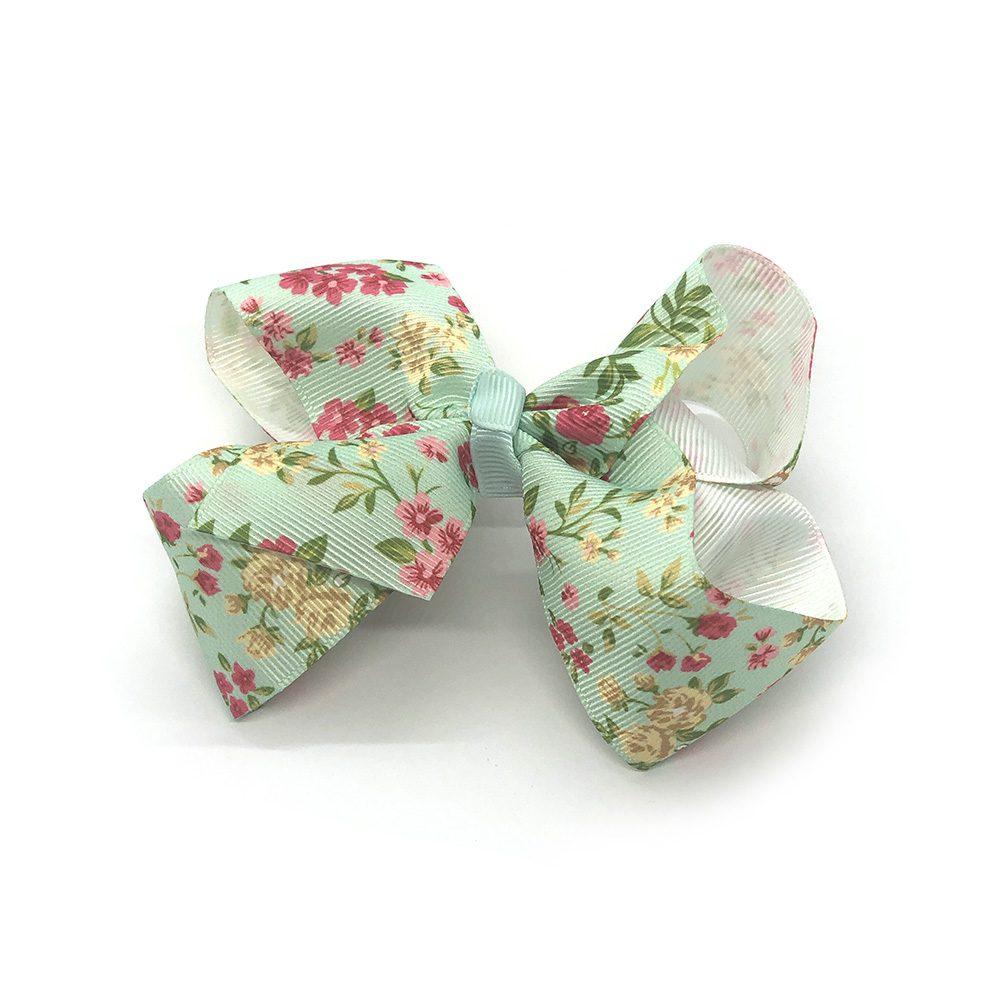 floral-prints-childrens-kids-ribbon-hair-bows-clip-green-1