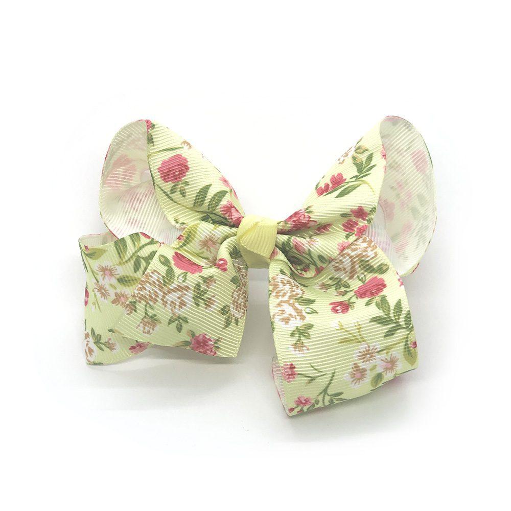 floral-prints-childrens-kids-ribbon-hair-bows-clip-light-green-1