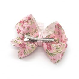 floral-prints-childrens-kids-ribbon-hair-bows-clip-light-pink-1a