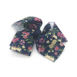 floral-prints-childrens-kids-ribbon-hair-bows-clip-navy-blue-2