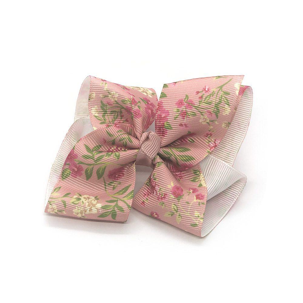 floral-prints-childrens-kids-ribbon-hair-bows-clip-pink-1