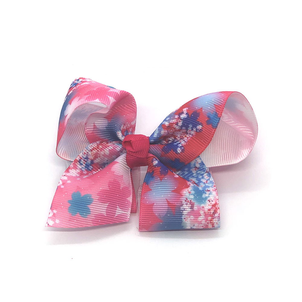 flowers-of-spring-childrens-kids-ribbon-hair-bows-clip-hot-pink-1