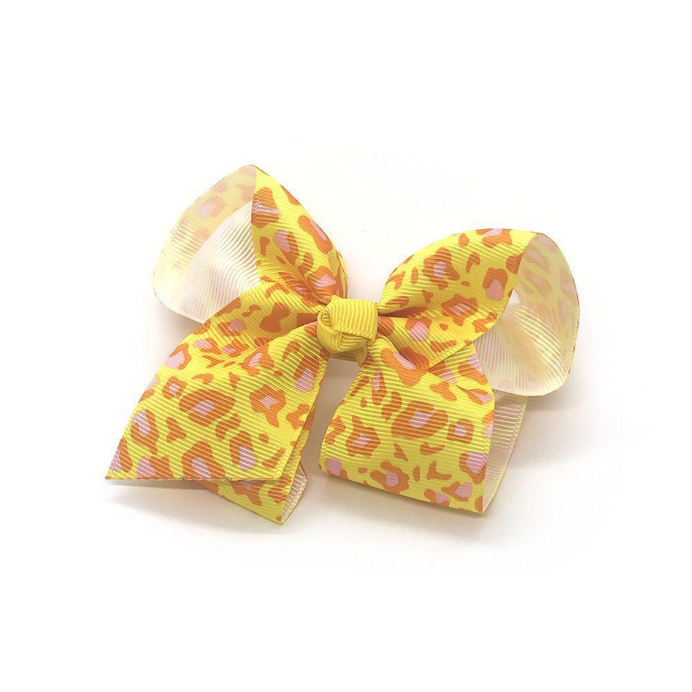 leopard-print-childrens-kids-hair-bows-clip-yellow-1