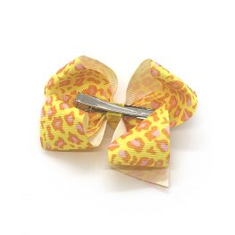 leopard-print-childrens-kids-hair-bows-clip-yellow-1