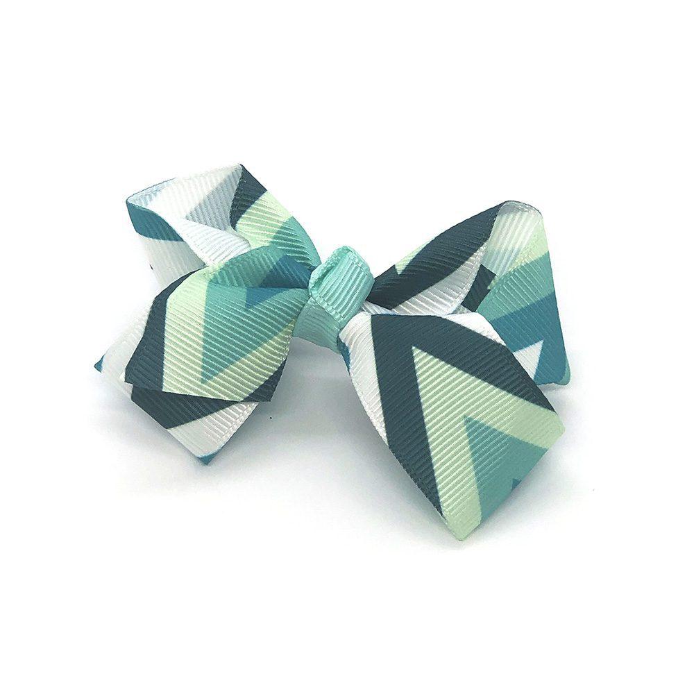 multi-coloured-childrens-kids-ribbon-hair-bows-clip-teal-green-1