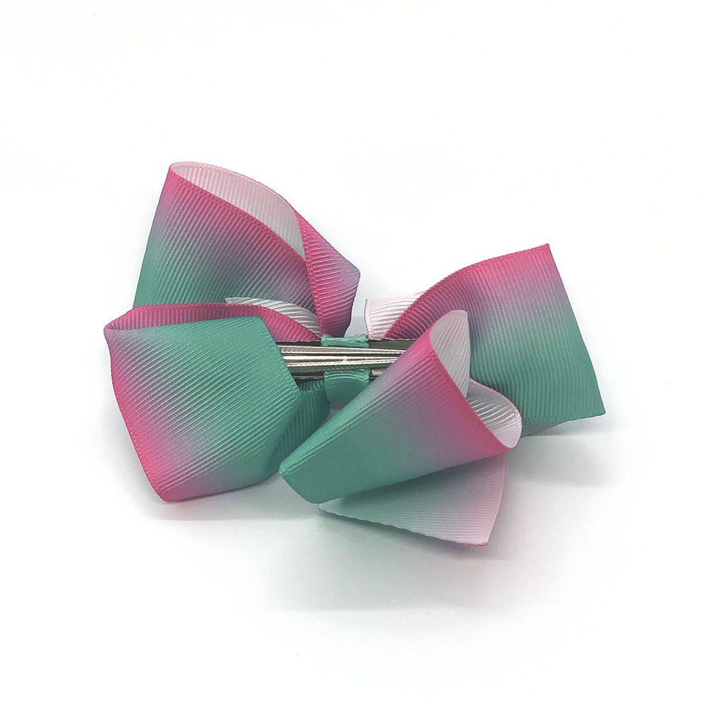 multi-tonal-childrens-kids-ribbon-hair-bows-clip-green-1a