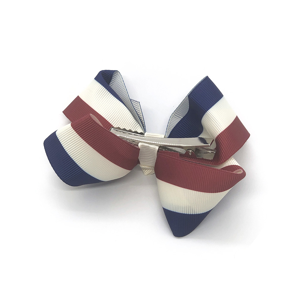 pretty-in-stripes-maroon-and-blue-childrens-kids-hair-bow-clip-1a