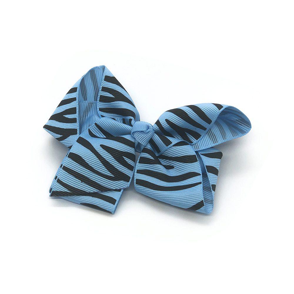 zebra-striped-childrens-kids-hair-bows-clip-blue-1