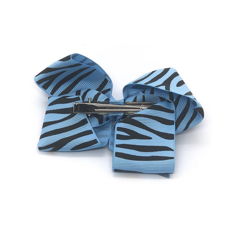 zebra-striped-childrens-kids-hair-bows-clip-blue-1a