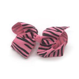 zebra-striped-childrens-kids-hair-bows-clip-pink-1a