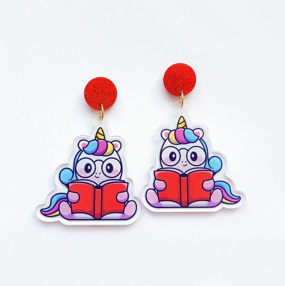 cute-reading-book-unicorn-earrings-1