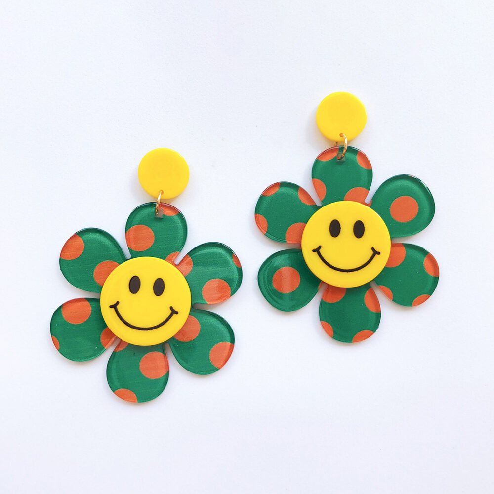 just-smile-and-be-happy-floral-earrings-green-1a