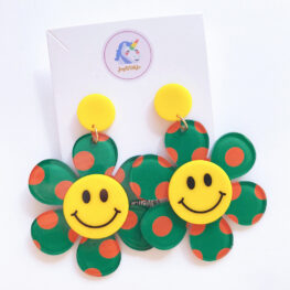just-smile-and-be-happy-floral-earrings-green-2a
