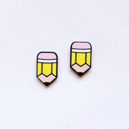 pencil-stud-earrings-teacher-earrings-yellow-1